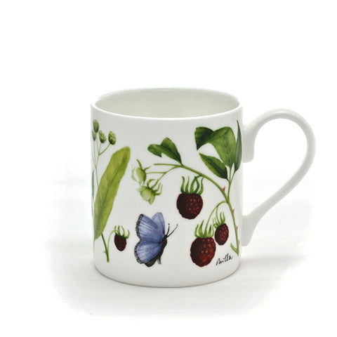'Raspberry & Lime Flowers' Mug