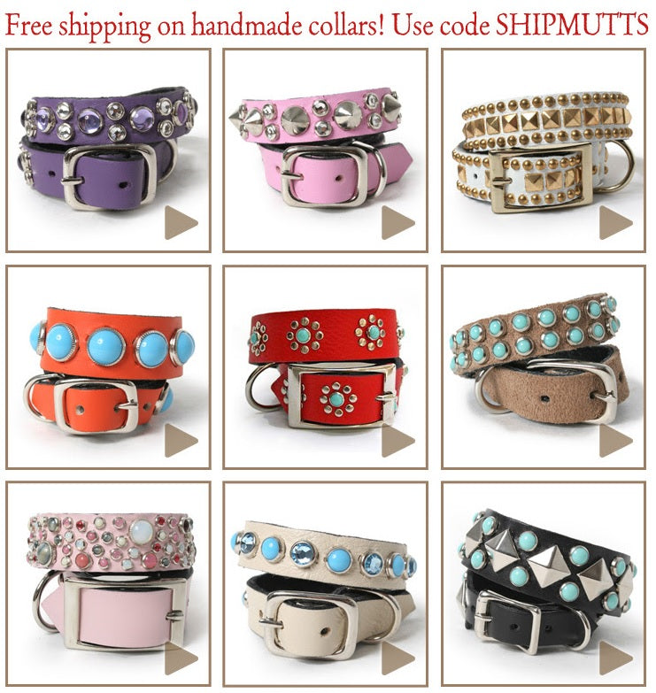 Handmade Embellished Leather Collars Make a Splash + Free Shipping