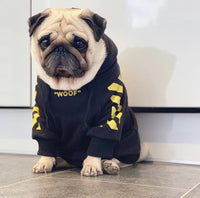 Black with Yellow Graphic Dog Hoodie