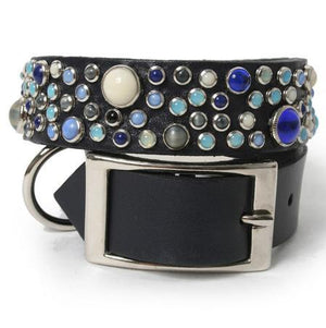 Mixed Stones on Navy Leather Dog Collar