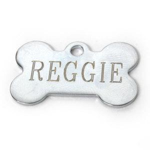 Small Chrome Bone Engravable Pet Tag