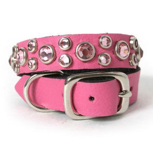 Pink Crystal Leather Dog Collar