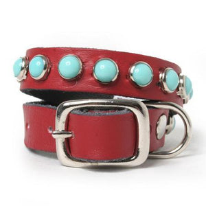 Single Row Turquoise on Red Leather Dog Collar