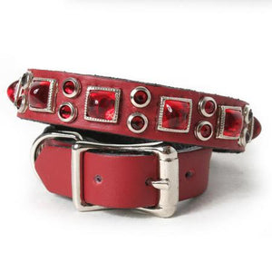Red Pyramid and Crystals on Red Leather Dog Collar