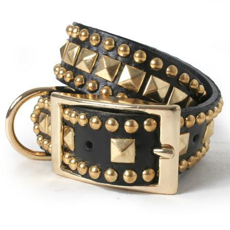 Gold Pyramid with Studs on Black Leather Dog Collar