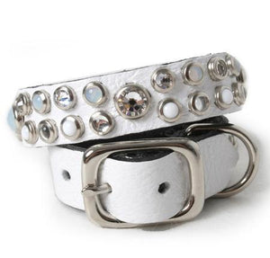 White Crystals and Cabs on White Leather Dog Collar