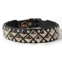 Metal Studs and Pyramids on Black Leather Dog Collar