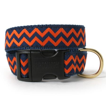 Navy and Orange Chevron Dog Collar