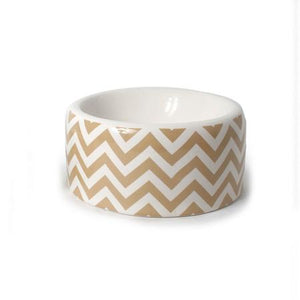 Chevron Ceramic Dog Bowl