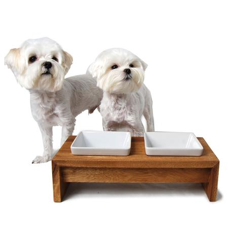 Artisan Bamboo Double Dog Feeder