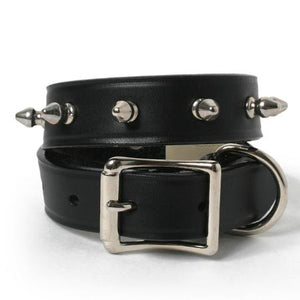 One Row Spikes Leather Dog Collar