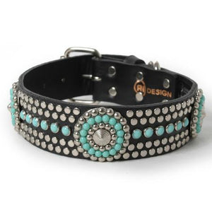 Turquoise and Silver Stud Conchos on Black Leather