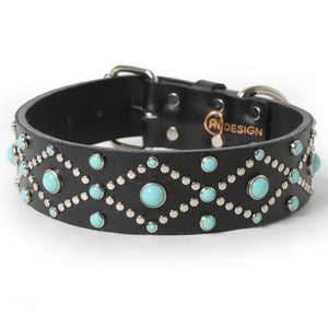 Silver Studs and Turquoise Cabs on Black Leather Dog Collar