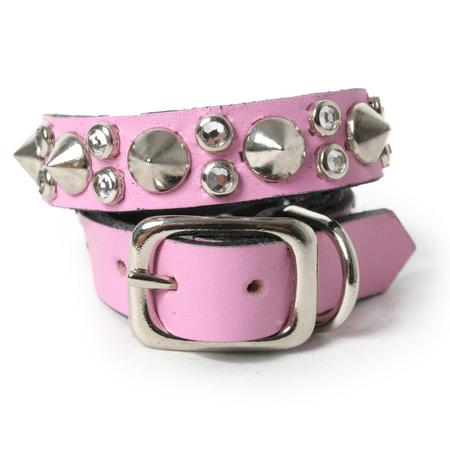 Spikes and Crystals on Napa Pink Leather Dog Collar