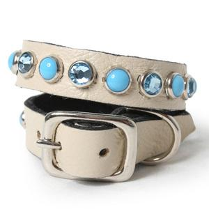 Multi Blue Cabs and Crystals on Ivory Leather Dog Collar