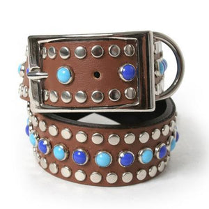Sky Blue and Lapis Cabs on Chestnut Leather Dog Collar