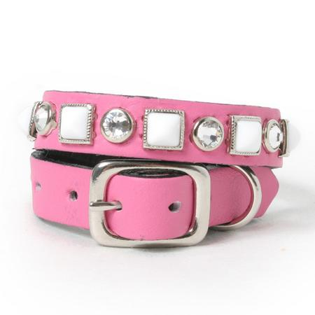 White Pyramids and Clear Crystals on Pink Leather Dog Collar