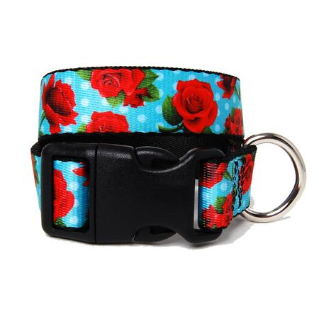 Red Rose and Aqua Dot Dog Collar - Muttropolis