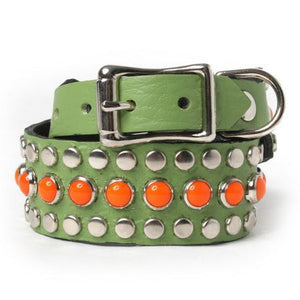 Orange Cabs and Silver Studs on Green Leather Dog Collar