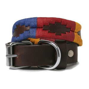Yellow Navy and Red Woven Leather Dog Collar