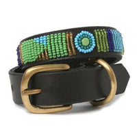 Beaded Peacock Leather Dog Collar