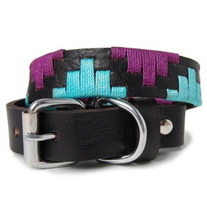 Purple and Teal Woven Leather Dog Collar