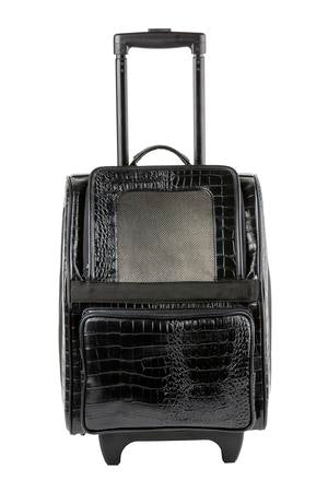 Black Faux Croc Wheeled Dog Carrier