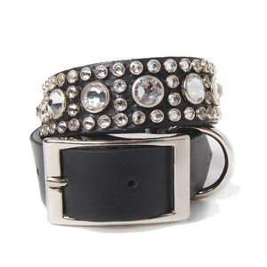 Clear Crystals on Black Leather Dog Collar