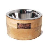 Wood and Stainless Steel Dog Bowl