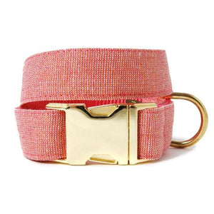 Rose Gold Linen Dog Collar