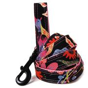 Noir Black Floral Dog Leash