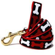 Red and White Bones Dog Leash