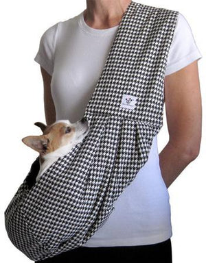 Black and White Houndstooth Cotton Dog Sling