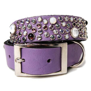 Mix Stones on Purple Leather Dog Collar