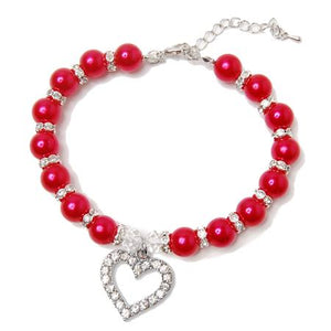 Heart and Red Pearl Dog Necklace