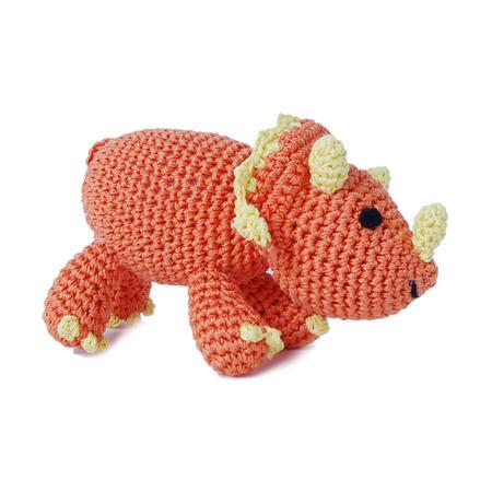 Knit Triceratops Dog Toy