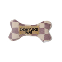 Checkered Chewy Vuitton Bone Dog Toy