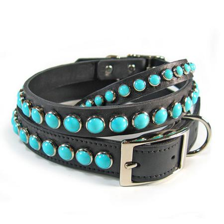 Turquoise on Black Leather Dog Collar