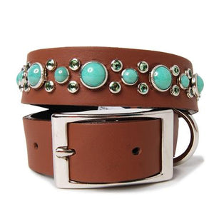 Turquoise Crystal Dog Collar on Chestnut Leather