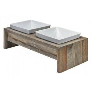 Artisan Fossil Double Dog Feeder
