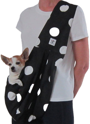 Black with White Polka Dots Cotton Dog Sling