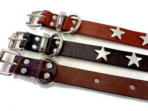 Silver Stars Leather Dog Collar
