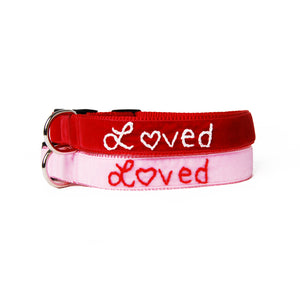 Loved Embroidered Velvet Dog Collar