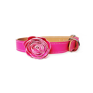 Flower Child Leather Dog Collar
