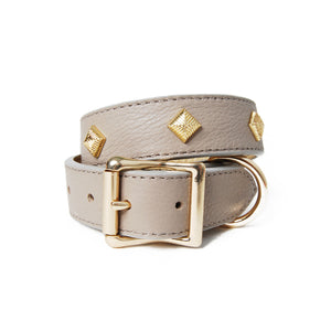 Gold Ridged Studs Leather Dog Collar