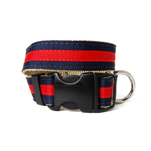 Navy and Red Jake Dog Collar