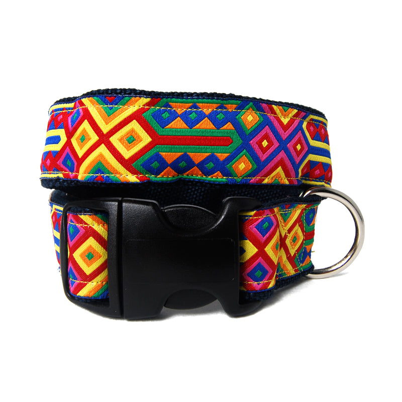 Bright Geo Hemp Dog Collar