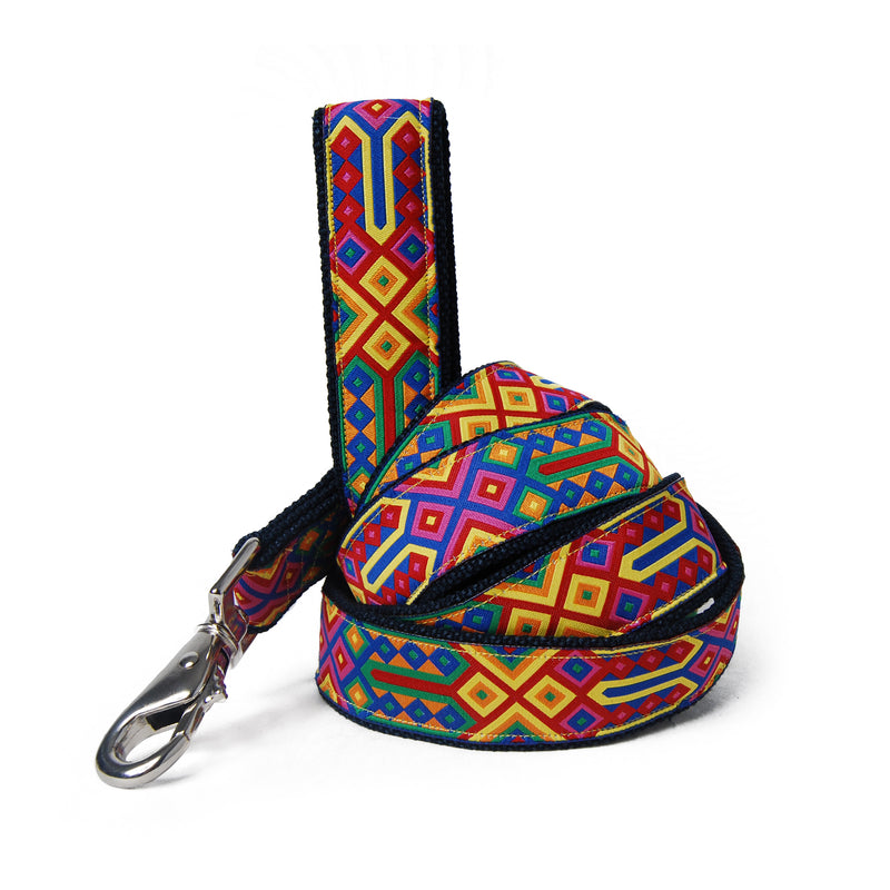 Bright Geo Hemp Dog Leash