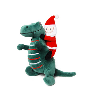 Santa Riding T-Rex Plush Dog Toy