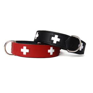 Swiss Cross Leather Dog Collar
